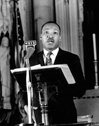 Martin Luther King speaking at Riverside Church in NYC, 4 April 1967